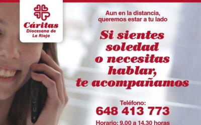 Cáritas La Rioja ofrece acompañamiento telefónico a las personas que sienten soledad durante la cuarentena