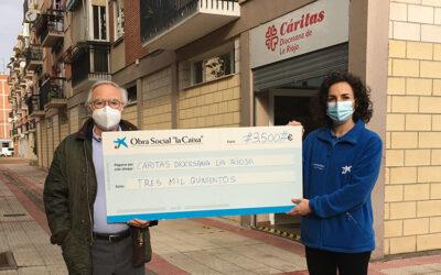 Fundación «la Caixa» y CaixaBank entregan 3.500 euros a Cáritas La Rioja