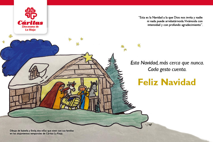Las familias de los alojamientos temporales de Cáritas La Rioja realizan un taller de creatividad para felicitar la Navidad